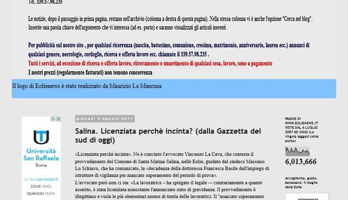 Santa Marina Salina: Licenziamento discriminatorio? – Eolie News