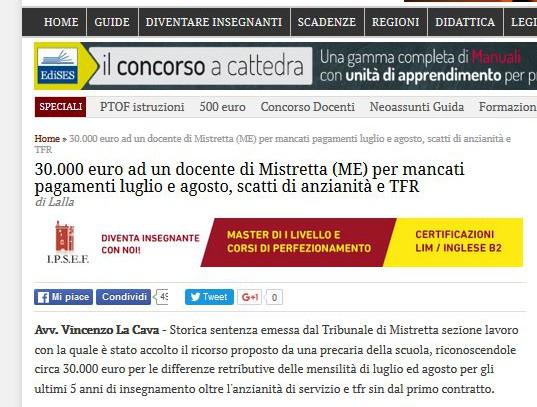 30.000 euro a docente precario – Orizzonte Scuola