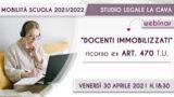 """Webinar 30.4.021″ Speciale Docenti immobilizzati"""" Ricorso ex art. 470 T.U."""